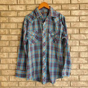 Roper Western long sleeve plaid pearl button shirt